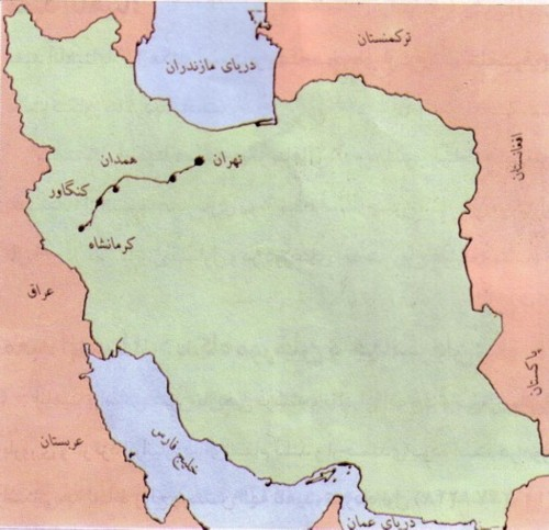 کنگاور شهر تمدن و تدین - موقعیت جغرافیایی کنگاور