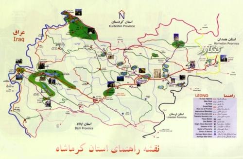 کنگاور شهر تمدن و تدین - نقشه راهنمای استان کرمانشاه - موقعیت جغرافیایی