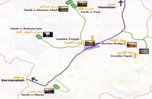 کنگاور شهر تمدن و تدین - نقشه کنگاور - Kangavar Anahita Temple