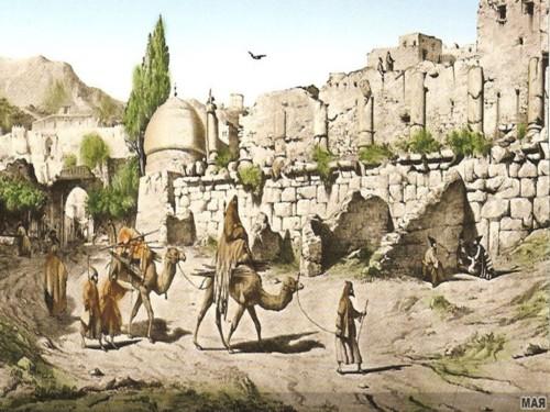 کنگاور شهر تمدن و تدین - پیشینه تاریخی - نقاشی معبد آناهیتا و امامزاده ابراهیم(ع) - Kangavar Anahita temple